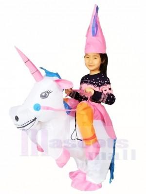 Trag mich Fahren auf Einhorn Aufblasbares Halloween Weihnachten Kostüme für Kinder