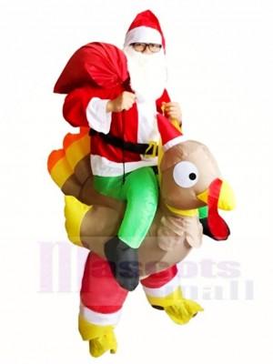 Weihnachtsmann Fahrt auf der Türkei tragen mich aufblasbares Halloween Weihnachten Kostüme für Erwachsene