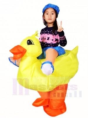 Gelbe Ente tragen mich Fahrt auf aufblasbare Halloween Weihnachts kostüme für Kinder