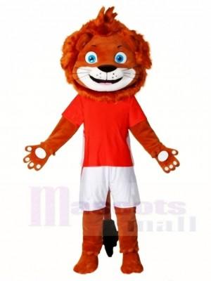 Glücklicher Löwe im roten Hemd Maskottchen kostüm Tier