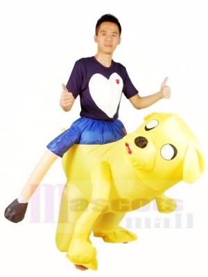 Fahren auf Jake der gelbe Hund Abenteuer Zeit Aufblasbar Halloween Weihnachten Kostüme für Erwachsene