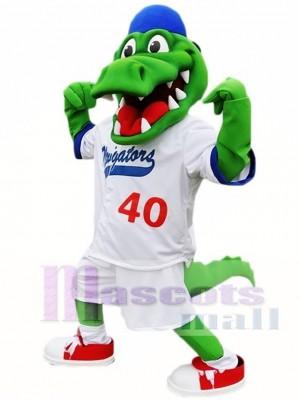 Blau Hut Athlet Krokodil Maskottchen Kostüm Alligator Maskottchen Kostüme