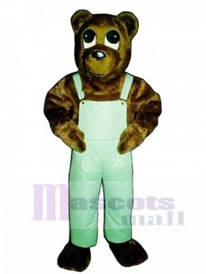 Süße Cutesy Bär mit Latzhose Maskottchen Kostüm