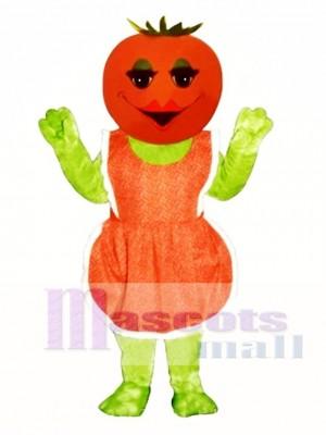 Frau Tomate mit Schürze Maskottchen Kostüm Gemüse