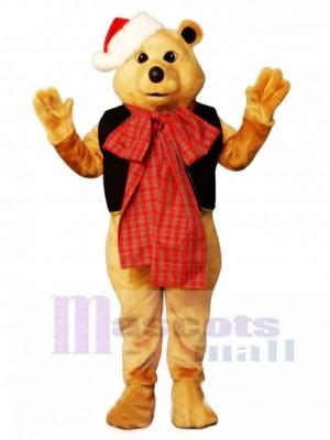 Süßer Fancy Bär mit Weste, Bowtie & Hat Weihnachts Maskottchen Kostüm