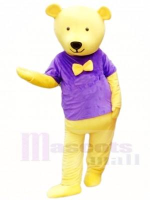 Gelber Teddybär im Lila Hemd Maskottchen Kostüm Tier