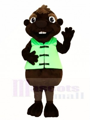 Braun Biber mit grünen Weste Maskottchen Kostüme Tier