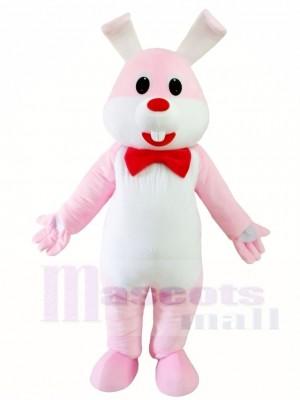 Rosa Kaninchen Osterhase mit roten Bowknot Maskottchen Kostümen Tier