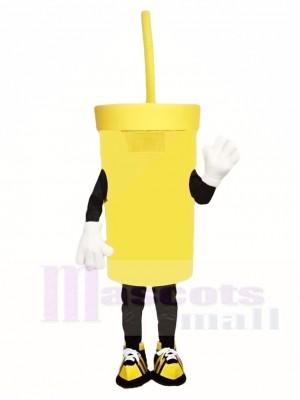 Große gelbe Tasse Maskottchen Kostüme trinken