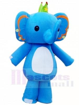 Blauer Elefant König Maskottchen Kostüm Tier