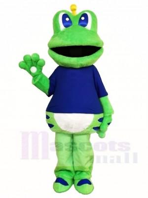 Frosch Maskottchen Kostüme im blauen Hemd