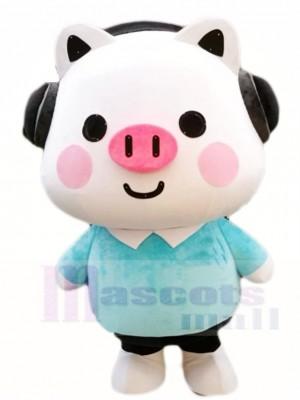 Schwein mit Headset Maskottchen Kostümen Karikatur