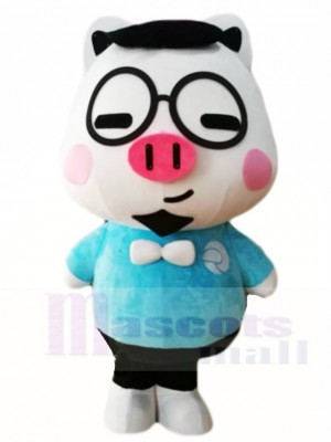 Schwein mit Brille Maskottchen Kostümen Karikatur