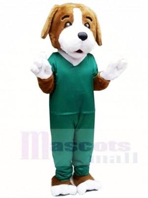 Braun Hund im grünen Anzug Maskottchen Kostüme Tier