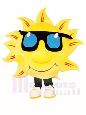 Gelb Sonnenschein mit Sonnenbrille Maskottchen Kostüme