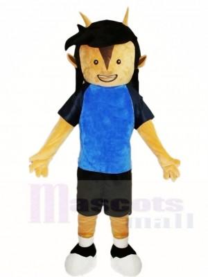Blaues T-Shirt Fußball Fußball Spieler Maskottchen Kostüme Leute