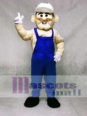 Bergmann mit blauen Overalls Maskottchen Kostüm