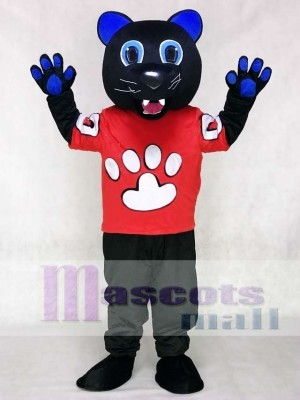 Sir Purr Mascot Costume of the Carolina Panthers in Red Shirt