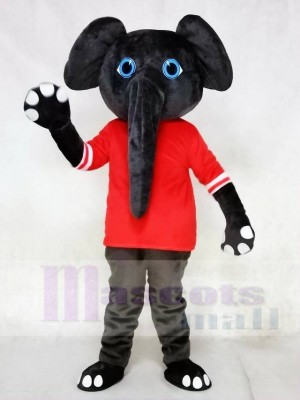 Grauer Elefant im roten Hemd Maskottchen Kostüme Tier