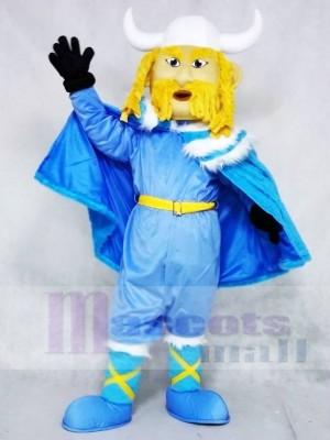 Thor der Riesige Wikinger mit Blauer Körper und Umhang Maskottchen Kostüme Menschen