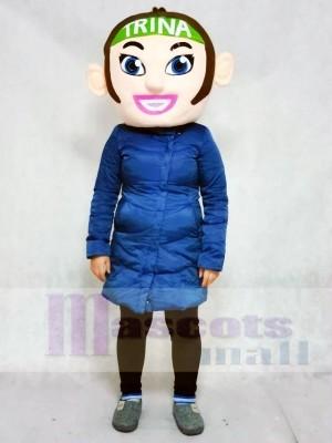 NUR KOPF der Brown Hair Cheerleader Mädchen Maskottchen Kostüme Menschen