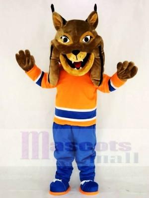 Jäger der kanadische Luchs mit Orange Anzug Maskottchen Kostüme Tier