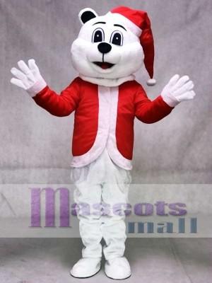 Sugar Plum Bär Maskottchen Kostüm mit Weihnachtsmütze und Anzug