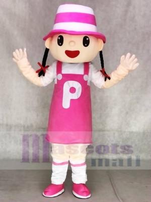 Nettes rosa Hut Mädchen Maskottchen kostüm Tier