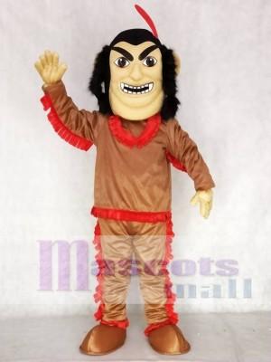 Braun Hemd Amerikanischer Ureinwohner Indian Maskottchen Kostüm mit roter Feder