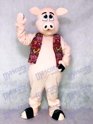 Pig Ferkel Schwein mit Hawaiian Vest Maskottchen Kostüm