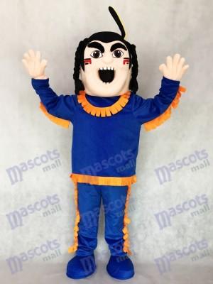 Neu Mutig Inder in Blau mit Orange Strim Maskottchen Kostüm