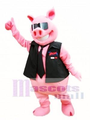 Rosa Schwein mit Weste und Krawatte Maskottchen Kostüm Piggy Maskottchen Kostüme Tier