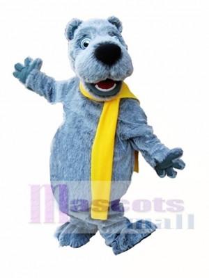 Grauer Bär mit gelbem Schal Maskottchen Kostüm grauer Bär Maskottchen Kostüme