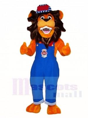 Blaue Overalls Löwe Maskottchen Kostüme Tier