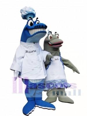Blau Wal Chef auf dem linken Maskottchen Kostüme