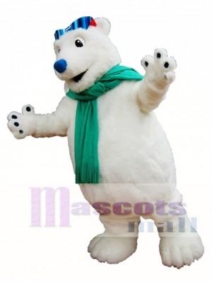 Polar Bär Maskottchen Kostüm Weißer Bär mit Schal Maskottchen Kostüme