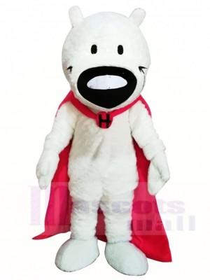 Weißer Hund mit rosa Mantel Maskottchen Kostümen Tier