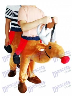 Carry Me Ride Rote Nase Rudolph Piggyback Rentier Maskottchen Kostüm huckepack kostüm selber machen