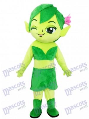Grüner weiblicher Elf Zauberer mit Blumen Maskottchen Kostüm Karikatur