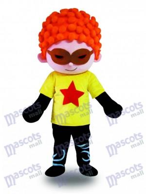 Rotes Haar Cool Junge Maskottchen Kostüm Cartoon