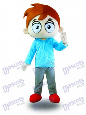 Blaues Hemd Big Eyes Junge Maskottchen Kostüm Karikatur