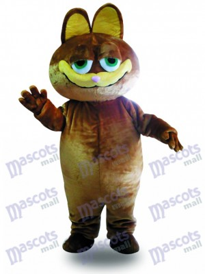 Brown Katze Cartoon Maskottchen Erwachsenen Kostüm Tier