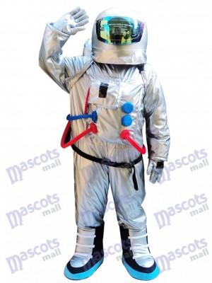Silberner Astronauten Raumanzug mit Rucksack Maskottchen Kostüm
