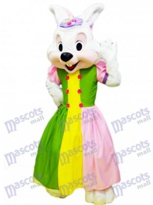 Osterhase in bunten Kleidchen Maskottchen Kostüm Cartoon
