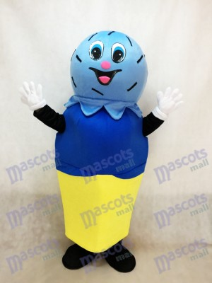 Double Blue Scoop auf einem Kuchen Kegel Maskottchen Kostüm Eiscreme
