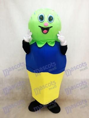 Doppeltes Schaufel (Grün und Blau) auf einem Kuchen Kegel Maskottchen Kostüm Eiscreme