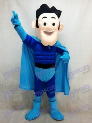 Superheld mit blauem Umhang Maskottchen Kostüm
