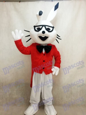 Weiße Osterhase Bugs Kaninchen Maskottchen Kostüme mit rotem Mantel