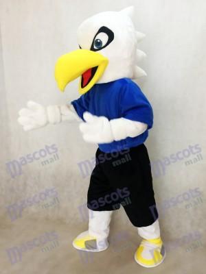 Weißes Eagle Vogel im blauen Hemd Hochschulmaskottchen Kostüm Tier