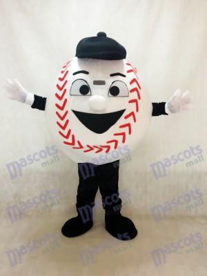 Erwachsener weißer Baseball mit einem schwarzen Hut Maskottchen Kostüm